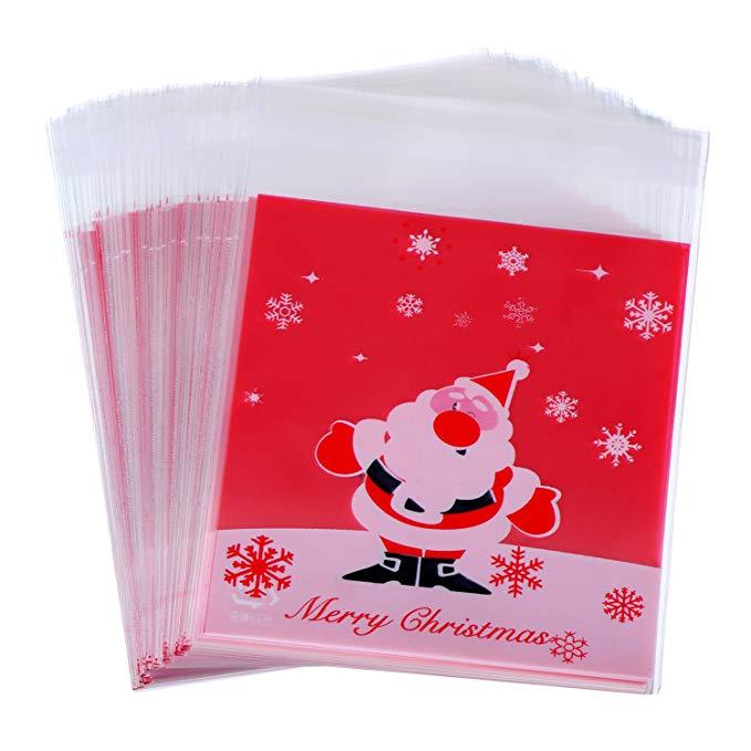 100 cái của tự dính giấy bóng kính túi quà Giáng Sinh OPP * túi cho kẹo biscuit cookies, 10x10 cm đỏ