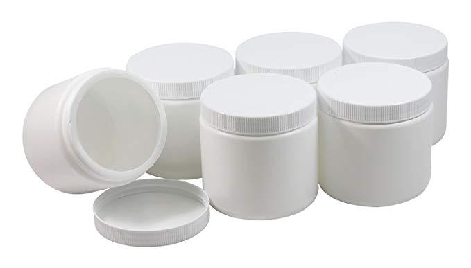 Đồ hộp bằng nhựa, thực phẩm, đồ chứa trẻ em 6 miếng (miệng rộng) trắng 453,59 g, không có bisphenol