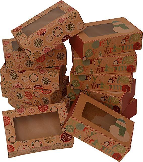 Giáng sinh hươu và hộp quà tặng cookie, hình chữ nhật với cửa sổ trong suốt, da bò màu nâu với thiết