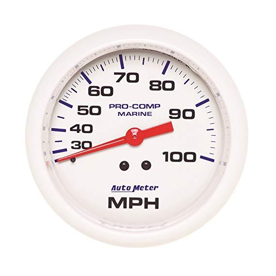 Xe Speedometer 200754 Marine Tốc độ cơ khí 3 - 3/8 inch Trắng Quay số FACE huỳnh quang Red Pointer T