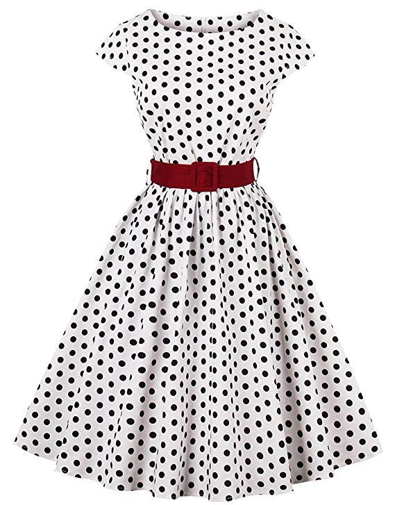 Laclady Váy Đầm Kiểu cổ điển chấm bi