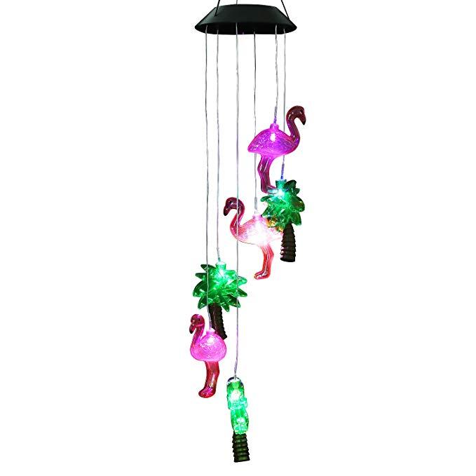 AceList thay đổi màu sắc năng lượng mặt trời flamingo gió Moblie đèn LED, xoắn ốc-lăng gió chuông, d