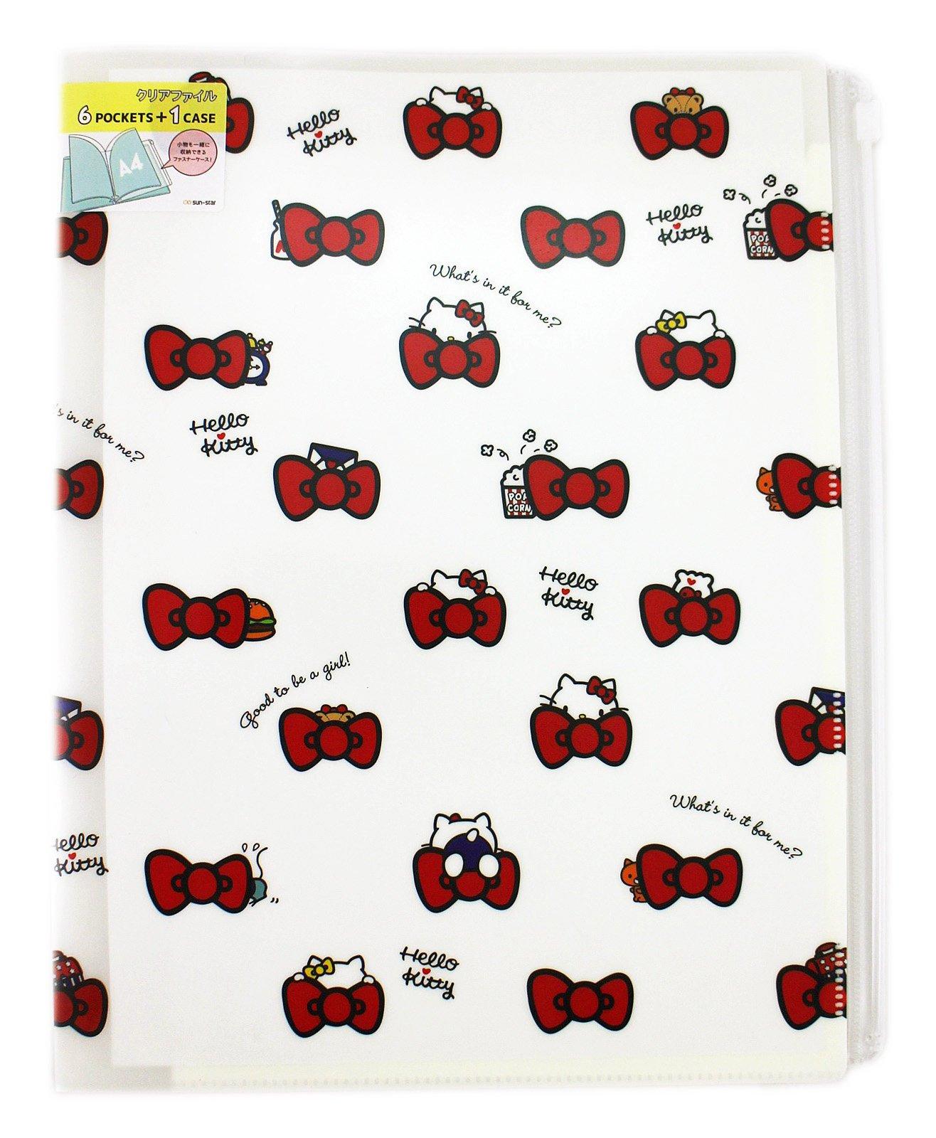 Hello Kitty A4 6+1 clip trắng túi tài liệu thư mục thư mục 71c chuỗi