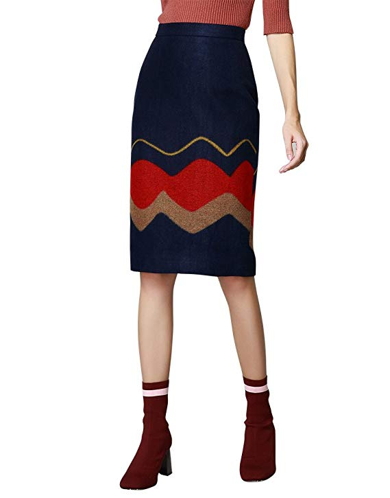 Onebuye mùa thu và mùa đông váy len mới cao eo là mỏng trong đoạn dài tính khí thanh lịch đi lại thủ