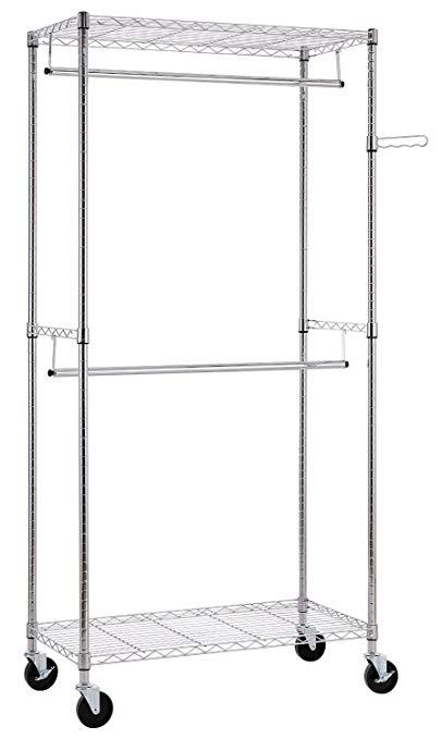 Finnhomy heavy duty đường ống may rack với móc đôi và kệ, xách tay tủ quần áo lưu trữ bag với bánh x