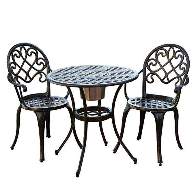 Meiya cùng một bàn ghế ngoài trời ban công và ghế ba mảnh đầy đủ nhôm đúc ngoài trời patio bảng và g