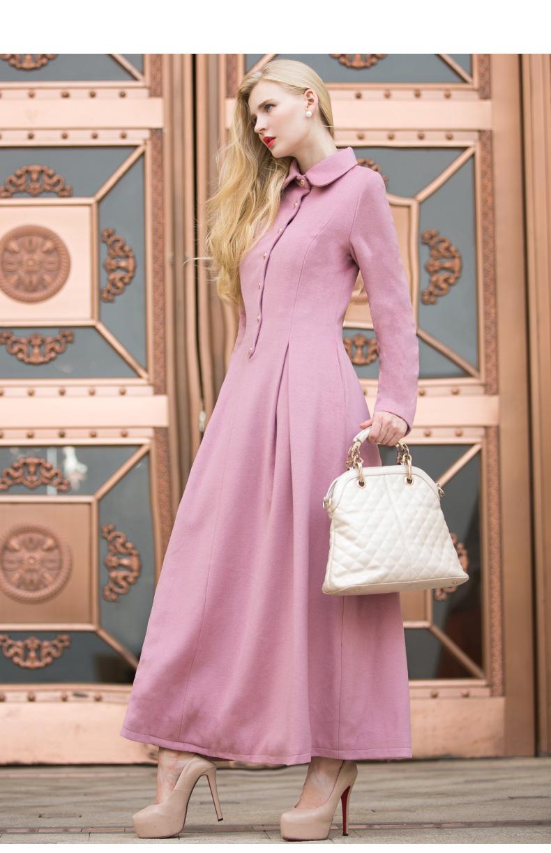Váy len màu hồng kiểu châu Âu và châu Mỹ dài tay hợp cho mùa đông ấm áp - SS6470