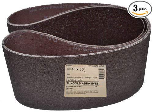 Sungold Abrasives - 35063 10.16cm x 91.44cm 40 Vành đai lông cừu cao cấp công nghiệp X Nặng nhôm, 3