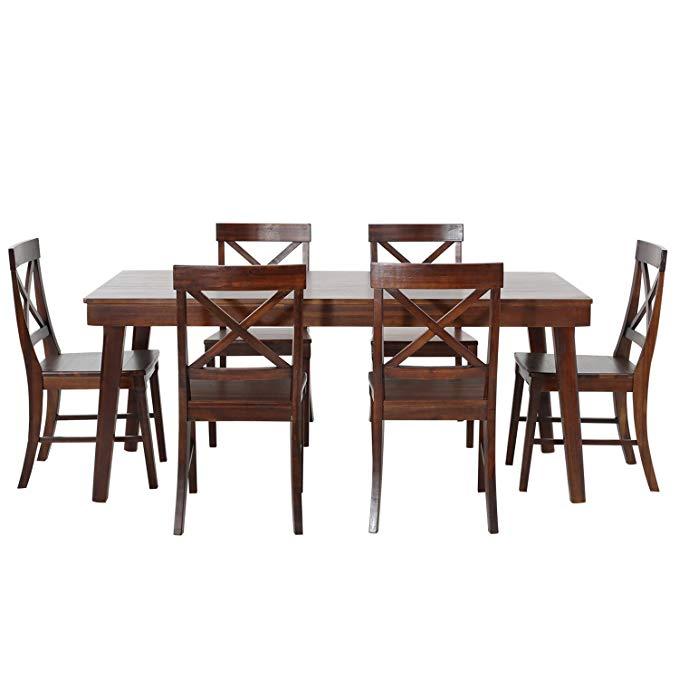 Bajiao Việt Nam nhập khẩu gỗ rắn bàn ăn và ghế kết hợp phòng ăn đồ nội thất 1.8 mét một bảng sáu ghế