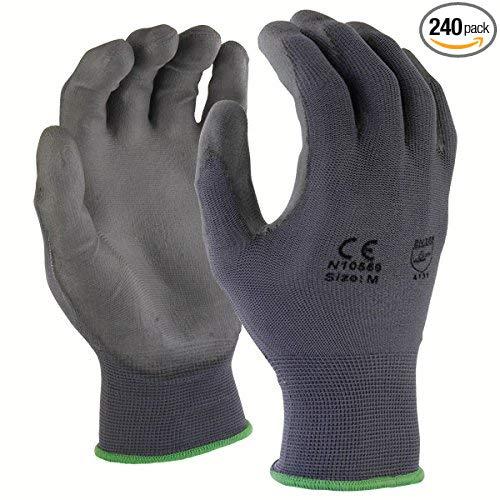 Azusa an toàn N10559 13 gauge Dàn đan Nylon găng tay an toàn, Polyurethane PU tráng, lớn, màu xám (P