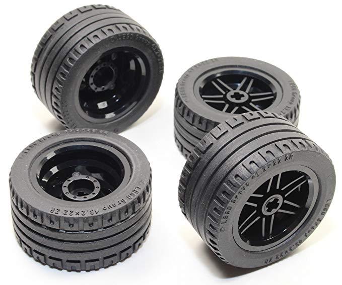 LEGO 8 - Bộ bánh xe và lốp xe kỹ thuật màu đen (chặn lốp bão nxt ev3) 56145 44309