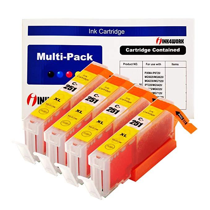 4 hộp INK4WORK tương thích phụ tùng thay thế cho CLI-251XL CLI-251 XL hộp mực màu vàng cho PIXMA MX7