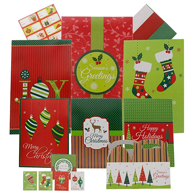 Gói quà Giáng sinh hoàn chỉnh - Bộ đồ dài 44 mảnh, bao gồm hộp quà tặng, thẻ quà tặng, giấy dán và k