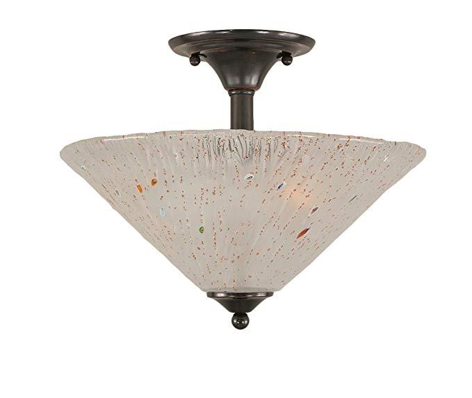Toltec chiếu sáng 121-BC-711 Hai bóng đèn Semi-Flush Mount Black Copper Kết thúc với Frosted Crystal