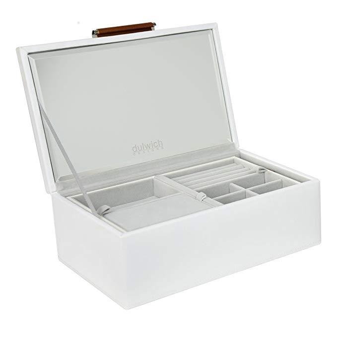 GIẢM GIÁ 50% Dulwich Designs Hộp đựng đồ trang sức bằng da cao cấp Malmo White