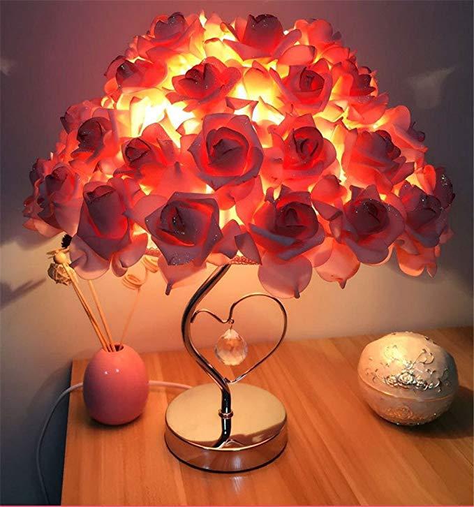 Prime Năm Jinshi Rose hình Trái Tim Đèn Bàn Quà Tặng Đám Cưới Đèn Trang Trí Ngủ Đầu Giường Đèn Hoa H