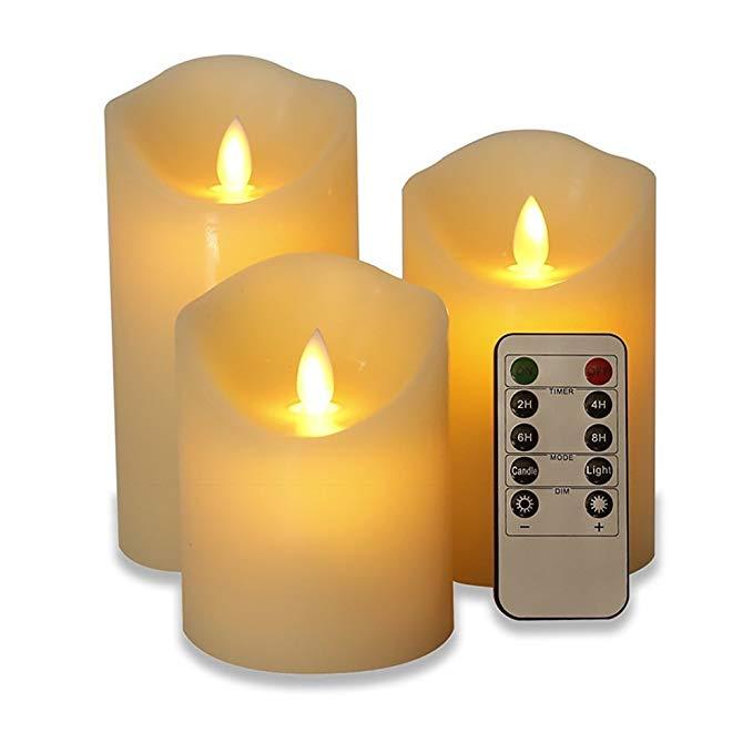 JANRI Cedar LED ánh nến bầu không khí bên nến ba mảnh đặt * điều khiển từ xa