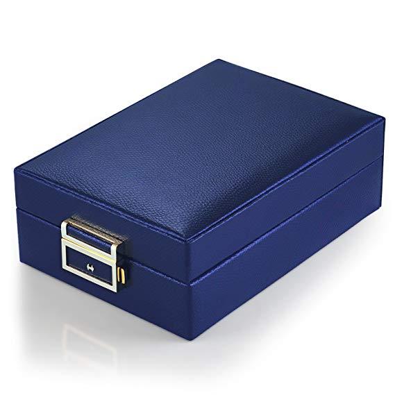 MBLife nhiều lớp da hai lớp gương du lịch hộp đồ trang sức lưu trữ túi biển xanh S09638Y