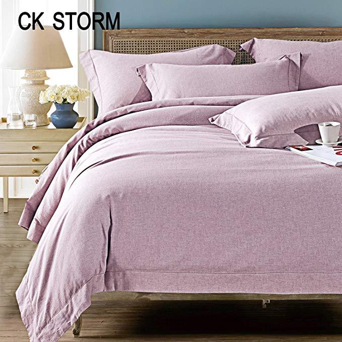 CK STORM Bộ Drap Giường chính hãng thoải mái đơn giản , Cotton cổ điển Bộ đồ giường Solid Color Cot