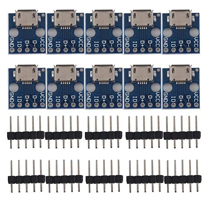 Prterewy 2.54 mét MICRO USB để DIP Adapter-pin plug-in board cắm nối PCB chuyển đổi DIY phụ kiện kit