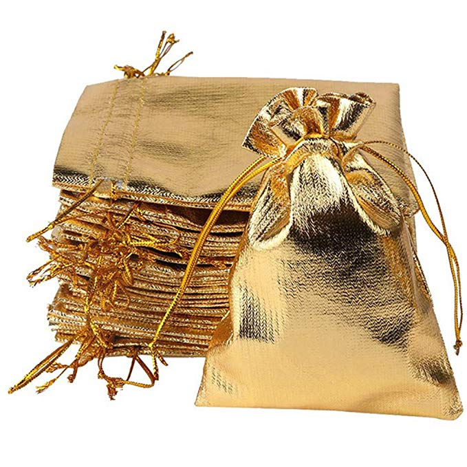 YUKUNTANG 100 cái dây rút vàng organza bag đảng wedding quà tặng trang sức túi 12.7x17.78 cm Dây Rút
