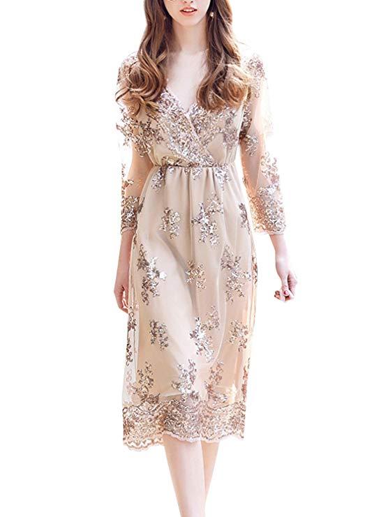 Simplee của Phụ Nữ V-Cổ Dài Tay Áo Sequined Midi Váy Đảng Dinner Dress