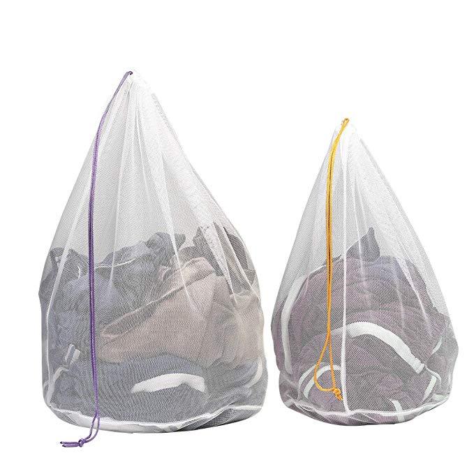 Túi giặt dây rút Tenn Well Drawstring, một bộ 2 túi rửa lưới thô cho mọi thứ tinh tế, vớ, đồ lót, bộ