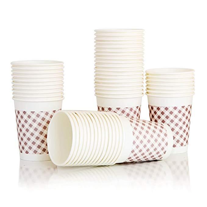 Deli Deli 9570 cốc giấy dày 250ml nhiệt độ cao 9 oz 50 gói chống rò rỉ không độc hại cốc dùng một lầ