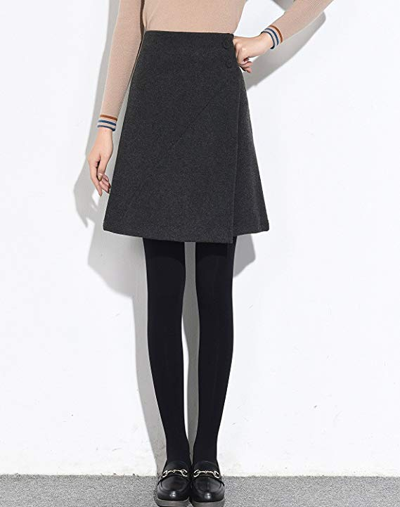 Váy nữ mùa thu và mùa đông eo cao len Một từ váy túi hip mùa đông váy nữ mùa đông len váy