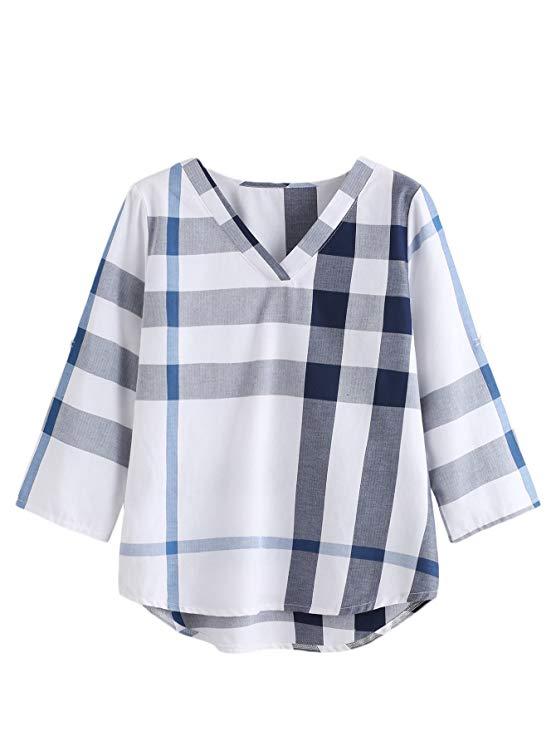 Verdusa của Phụ Nữ V-Cổ 3/4 Mặt Bích Tay Áo Áo Sơ Mi Kẻ Sọc Henry T-Shirt