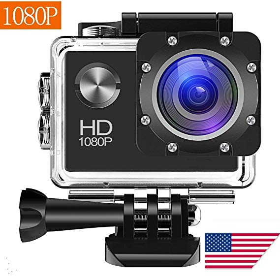 Wewdigi EX300 máy ảnh chuyển động, 12MP 1080P 2 inch màn hình LCD, thể thao không thấm nước máy ảnh