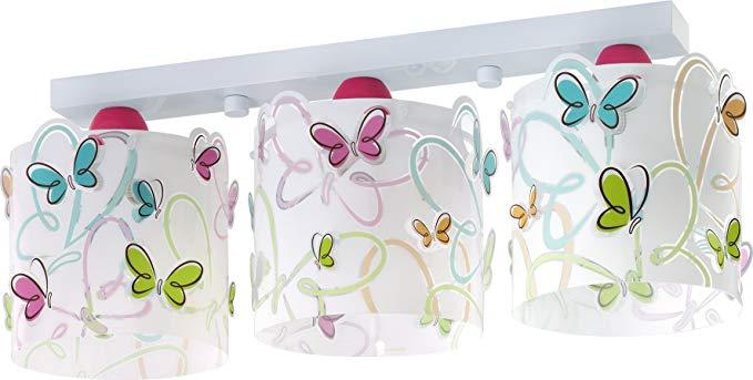 Dalber 62143 bướm 3 đèn trần ánh sáng, trắng / hồng / xanh / xanh