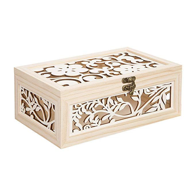 Darice cắt laser mô hình hộp gỗ, unpolished / tự nhiên