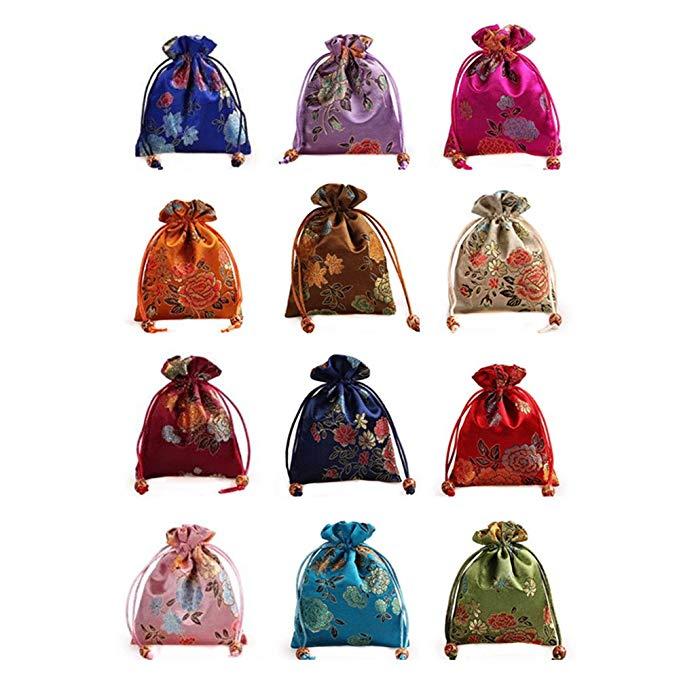 12 cái / bộ của tơ lụa damask túi đồ trang sức dây rút đôi coin purse túi quà tặng