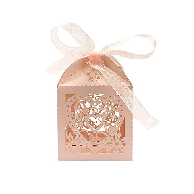 Bọc Hình Trái Tim và Hoa Wedding Party Gift Box với Ribbon Hộp Quà Tặng (50 Túi) hồng A70179c