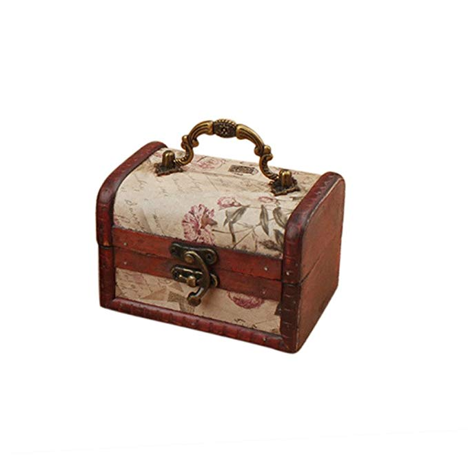 Coolrunner handmade vintage Châu Âu hộp gỗ cổ điển bằng gỗ Kho Báu bảo vệ bìa trang trí trang sức lư