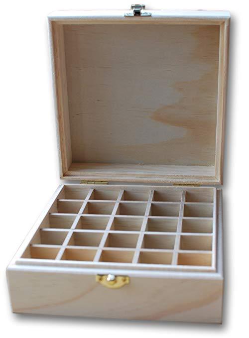 Gỗ tinh dầu hộp - Có thể giữ 25 chai Kích thước 5-15 ml Chất lượng cao bằng gỗ tự nhiên không được đ
