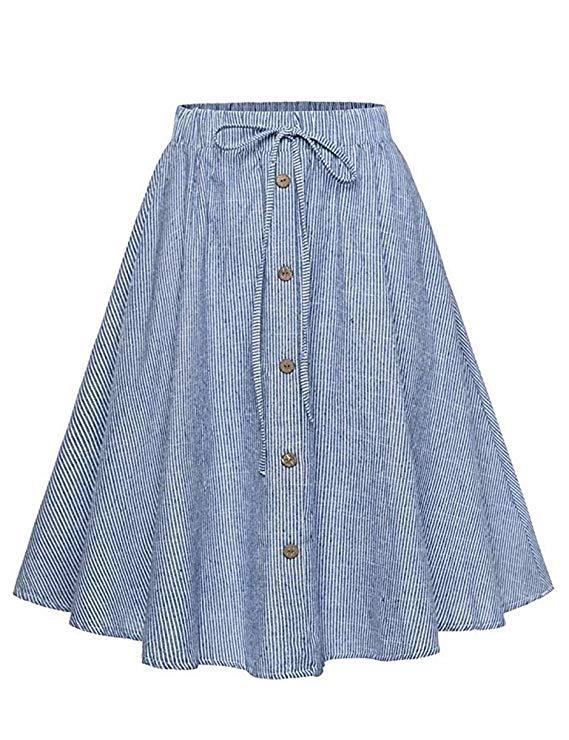Allonly của phụ nữ A-line cao-eo nút dây kéo phía trước pleated midi váy, đàn hồi eo và đầu gối chiề