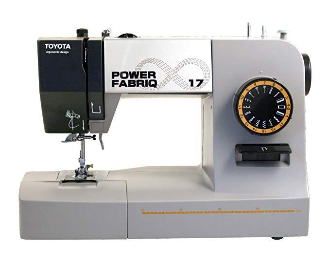 Máy may cánh tay miễn phí của Toyota PowerFab17 PowerFabriQ có chân trượt, 17 chương trình màu xám