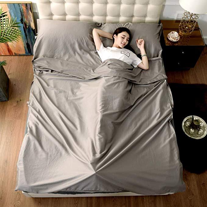 J.H.Longess mượt satin dài staple bông túi ngủ cotton 60 mật độ cao du lịch màu sắc rắn túi ngủ du l