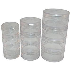 Sản xuất tại Trung Quốc * Transparent Trang Điểm 4 Lớp Lon Nhựa 3 kích cỡ (1 bộ)
