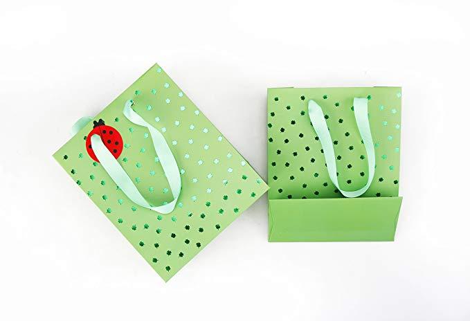 Màu xanh lá cây Clover Gift Bag Món Quà Tinh Tế Túi Giấy Túi Tote Sinh Nhật Món Quà Kỳ Nghỉ Túi