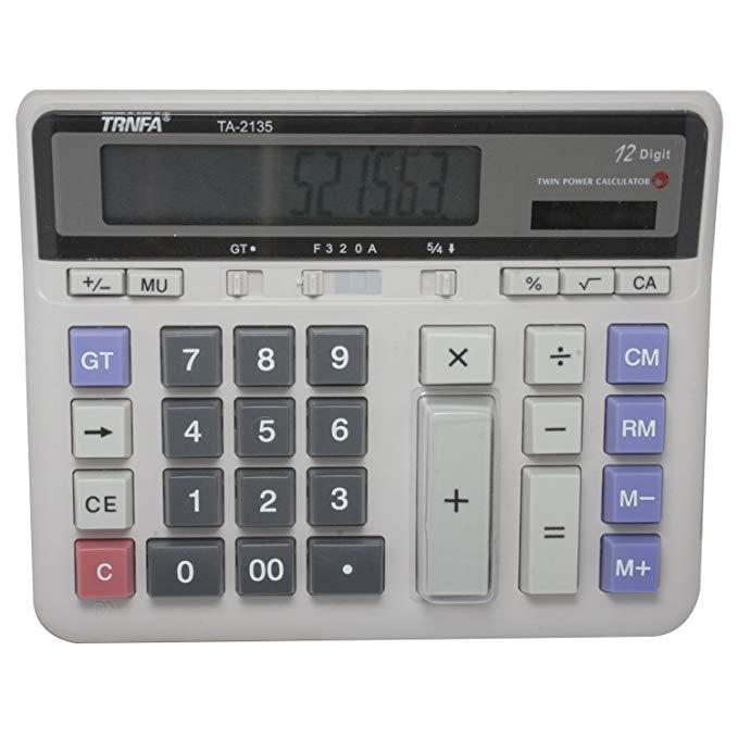 Trnfa thư 12 chữ số đa chức năng máy tính điện tử TA-2135 (màn hình lớn, năng lượng mặt trời, chức n