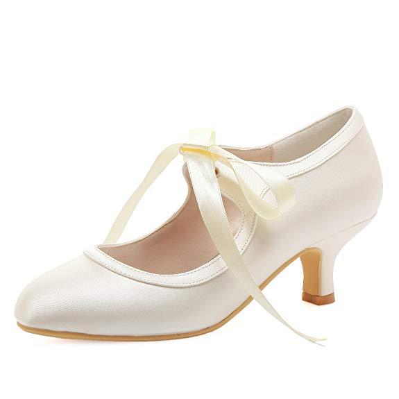Giày cưới ruy băng satin cô dâu , Thương Hiệu : ElegantPark