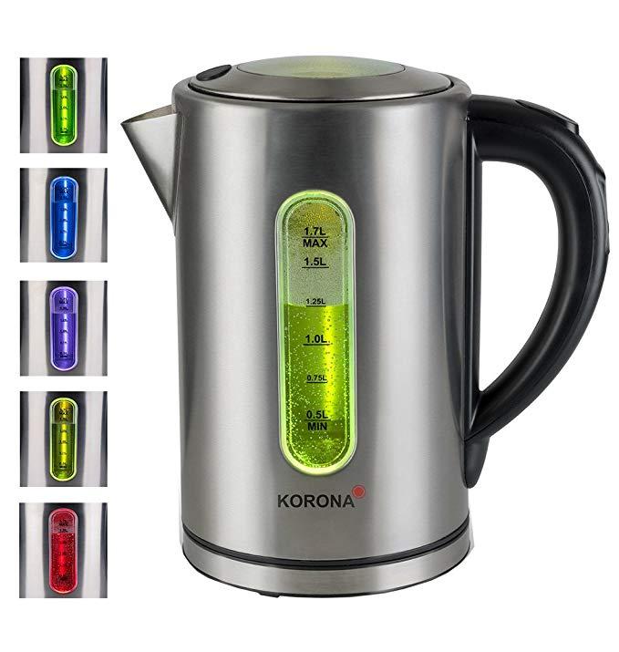 Korona 20690 ấm điện bằng thép không gỉ với điều khiển nhiệt độ - Cách nhiệt - 50 °, 70 °, 80 °, 90