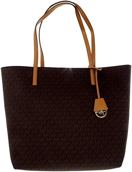MICHAEL KORS của Phụ Nữ Lớn Hayley Canvas Shoulder Leather Shoulder Bag Tote Nâu / Đậu Phộng Một Kíc