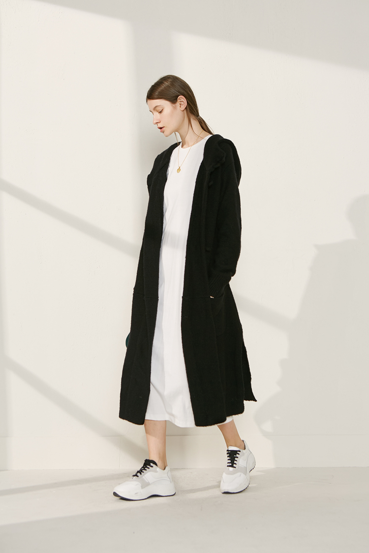 Áo khoác len dài có mũ trùm đầu cho nữ