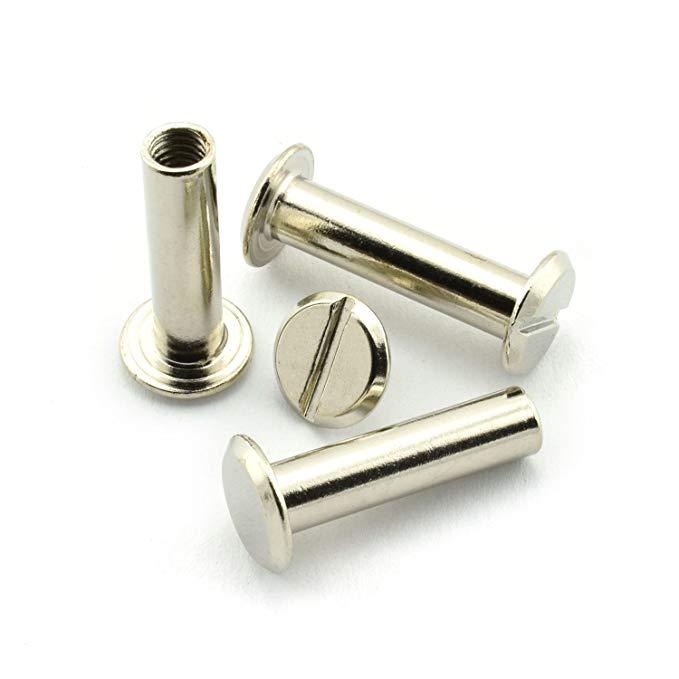 60 bộ bạc Chicago vít bài viết kim loại phụ kiện đinh tán đinh nút Chicago cho DIY bọc da TÀI LIỆU s