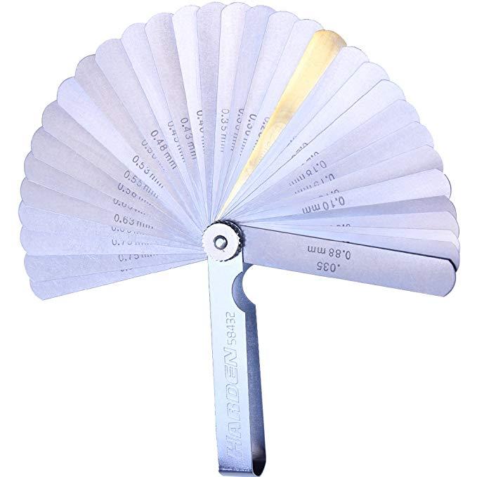Harden Hanton feeler Thước Công cụ đo Khoảng cách đo lường 15 32-piece thép không gỉ metric feeler g