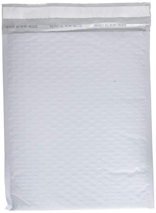 Phong bì đệm toàn cầu Fu # 2 Túi xốp Polyethylene 21.59cm X 30.48cm Bao bì bong bóng, Trắng, 25 miến